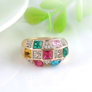 Jewelry - Multicolor CZ Gold Band Ring Sizes 6.5 | 7.5